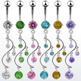 Gem Vine Dangle Belly Navel Ring CZ Crystal Falls B474 Button Piercing