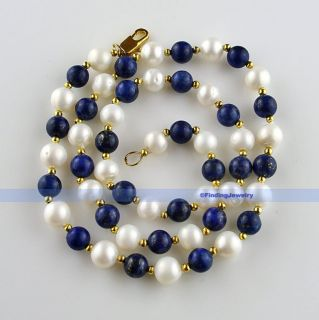 White Pearl &Blue Lapis &Swarovski Crystal Necklace  RELIABLE SELLER