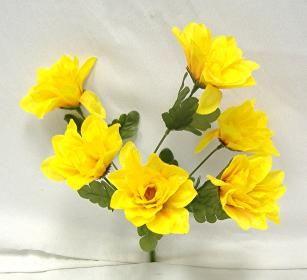 Dahlia Flowers Yellow Silk Flower Bush Wedding Bridal Bouquet
