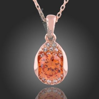 18K Rose Gold GP Swarovski Crystal Citrine Necklace N229