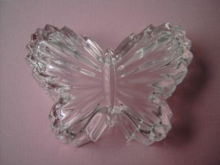 Vintage Cut Glass Crystal Butterfly Vanity Trinket Box