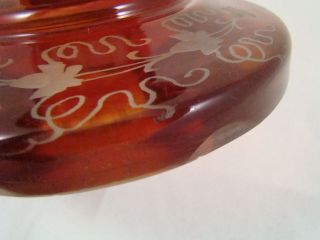 Bohemian Cranberry Ruby Red Cut to Clear Forest Scene Lidded Pedestal