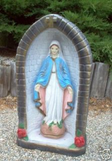24 Virgin Mary in Grotto Concrete Garden Decor Statue