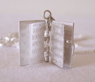 English Bible Lord Prayer Cross Silver Pendant Book Locket Necklace