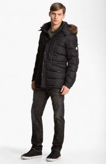 Moncler Hooded Parka, rag & bone T Shirt & Dolce&Gabbana Slim Straight Leg Jeans