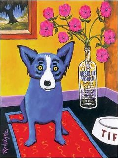 GEORGE RODRIGUE BLUE DOG ABSOLUT VODKA POSTER PRINT 42 X 30 CM POP