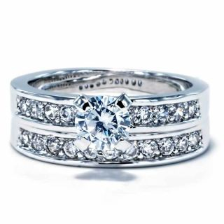 Ct Round Cubic Zirconia White Gold Ep Wedding Engagement Ring Set sz