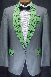 Gray Green Shamrock Prom Tux Tuxedo Smoking Jacket Most Sizes