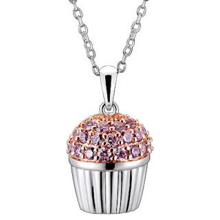 Pink CZ Cubic Zirconia Cupcake Charm Pendant Necklace 18