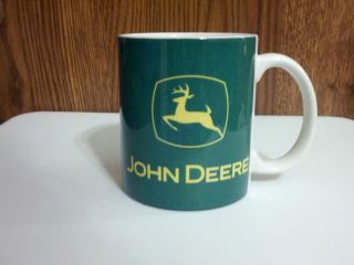 John Deere Farm Tractor Coffee Mug Cup Yellow Green Farmer