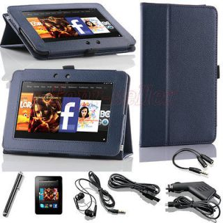 Blue PU Leather Folio Case Cover Stand For  Kindle Fire HD 7