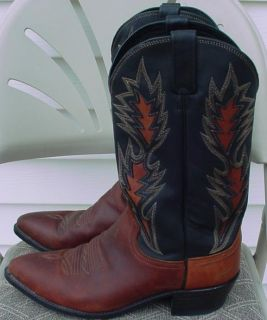 Dan Post Mens 6305 10 5 D Leather Black Brown Western Cowboy Boots