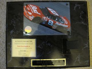 Dale Earnhardt Jr Racing Plaque with Authentic Racing Tire and Picture
