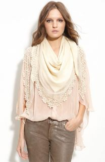 Eyeful Lace Trim Triangle Scarf
