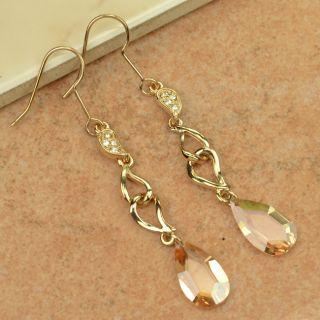 3311   New Crystal 18k Gold GP Dangle Earring
