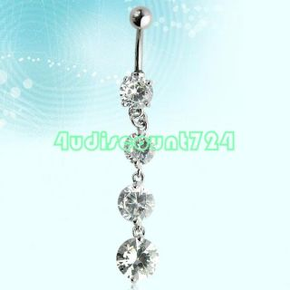 STAINLESS STEEL BELLY BUTTON DANGLING CRYSTAL BELLY NAVEL RING BAR