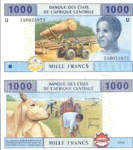 Cameroun 1000 Francs Banknote World Money Currency Bill