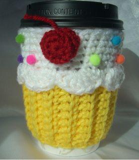 Yellow Lemon Cupcake Coffee CUP COZY Sleeve Hand Crochet Cherry Food