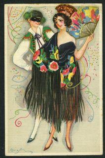 Chiostri Art Deco Masquerade Man Woman in Costume