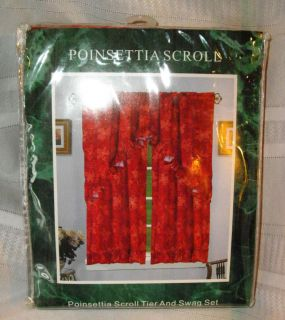 Scroll Christmas 2 Tier & 1 Swag Kitchen Curtain Set 36L Red Gold NEW
