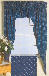 3pc Country Cottage Navy Swag Valance Curtain 84WX63L
