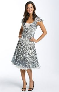 Komarov Pleated Tie Front Chiffon Dress