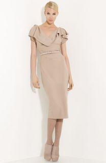 Donna Karan Collection Belted Stretch Wool Dress