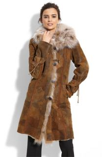 Blue Duck Lambskin Leather Patchwork Coat with Genuine Fox Fur Trim