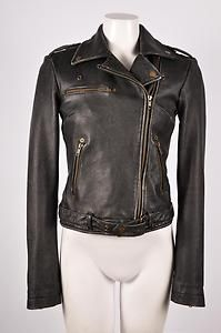 Current Elliott Black Leather Easy Biker Jacket Sz 1