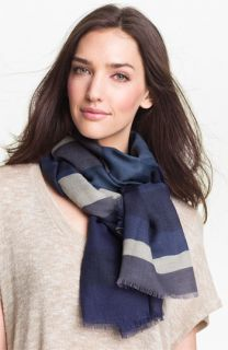 Burberry Overprinted Stripe Wool & Silk Scarf