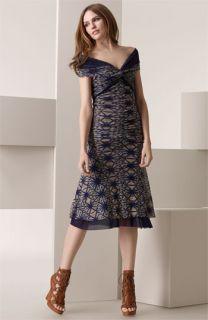 Jean Paul Gaultier Batik Print Off Shoulder Dress