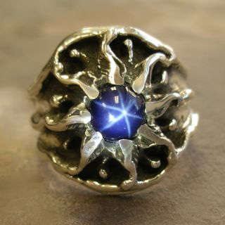 Unique Custom Mens Silver Sunburst Ring with A Star Sapphire Vintage