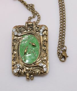 Retro Bronze Bird Album Locket Crystal Pendants Necklace