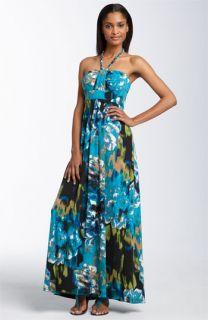 Donna Ricco Printed Halter Maxi Dress