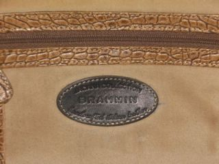 Brahmin Small Croco Embossed Leather Roasted Almond Small Satchel
