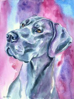 Great Dane Dog Original Watercolor Fine Art Painting by LyN