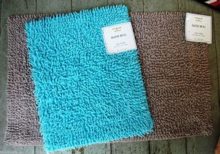 Turquoise Blue Shag Bath Rug 100 Cotton Bath Mat 18 x 28 Washable