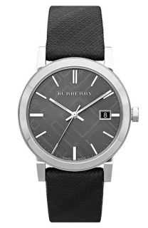 Burberry Large Check Stamped Round Dial Watch