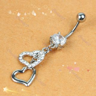 Dangle Double Heart Rhinestone Silver Crystal Navel Belly Button Ring