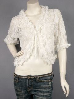 Off White Mid Sleeve Ruffle Lace Cropped Top Cardigan M