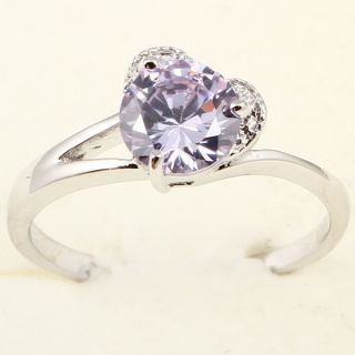 Round Cut Facet Purple Amethyst Heart A085 Ring