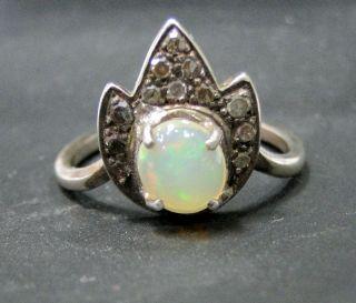 Victorian antique silver opal rose cut diamond ring jewelry