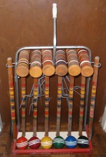 Vintage 6 Player Wooden CROQUET Set With Wheeled Rolling Cart