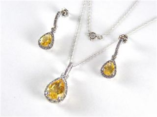 Natural Citrine & Diamond Necklace & Earring Set 3.60ct 10k White Gold