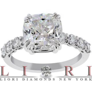 24 Carat F SI2 Cushion Cut Natural Diamond Engagement Ring 14k Gold