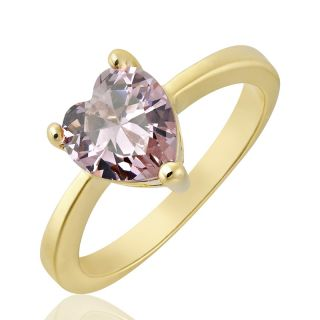 Heart Cut Pink Sapphire Topaz Ring Women Dress Jewelry Size 8 Q