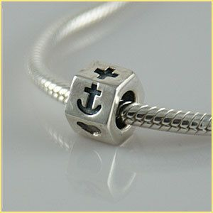 sterling silver European bead charm FAITH HOPE LOVE Cross Anchor Heart