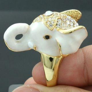 High Quality Cute Clear Elephant Cocktail Ring Size 7 W Swarovski