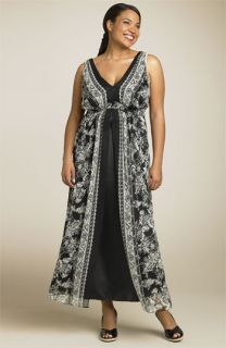 Robbie Bee Split Front Silk Maxi Dress (Plus)