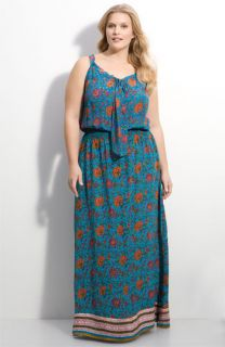 Tolani Border Print Silk Maxi Dress (Plus)